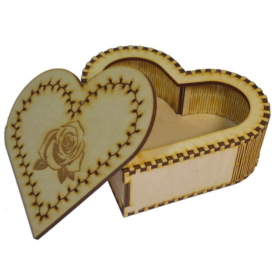 """картинка Шкатулка """"Сердце"""", арт. Ф00053 - подарки и декор из дерева - подереву.рф"""