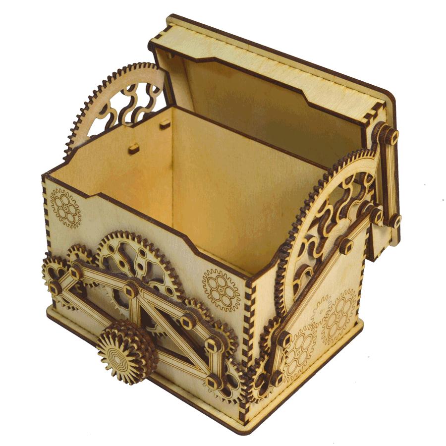 картинка Шкатулка с шестерёночным механизмом 15x12x11см, арт. Ф00094 - подарки и декор из дерева - подереву.рф