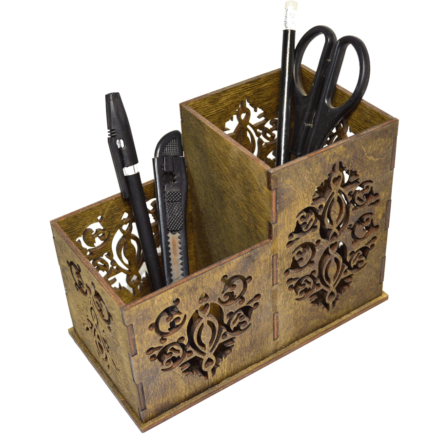 картинка Органайзер настольный резной, арт. Ф00028 - подарки и декор из дерева - подереву.рф