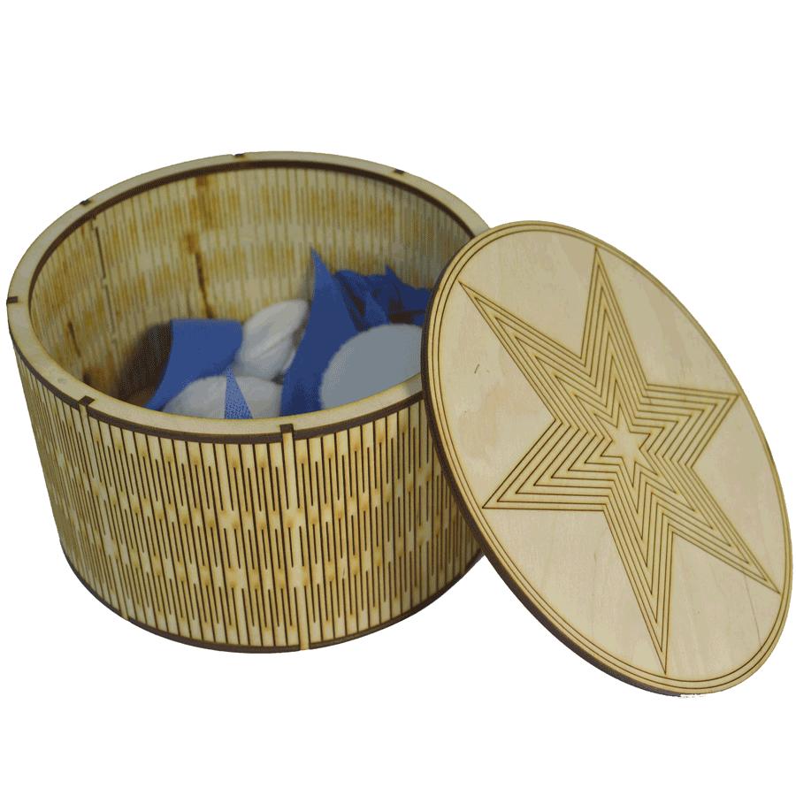 картинка Шкатулка круглая 170x170x100 мм, арт. Ф00022 - подарки и декор из дерева - подереву.рф
