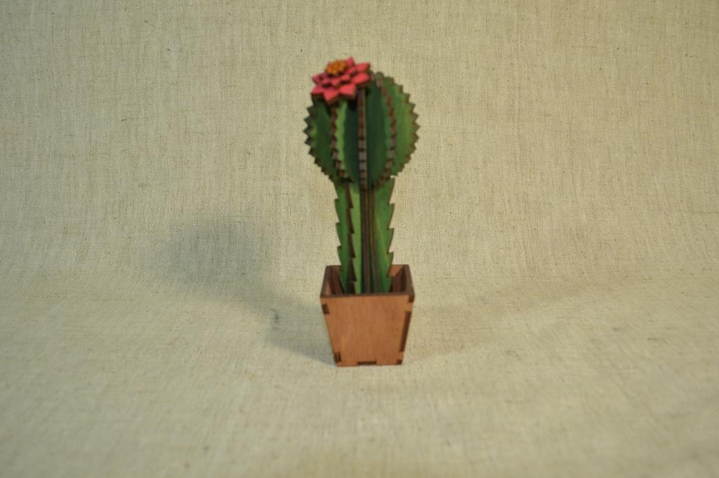"""картинка Интерьерный декор """"Кактусы"""", арт.Ф00107 - подарки и декор из дерева - подереву.рф"""