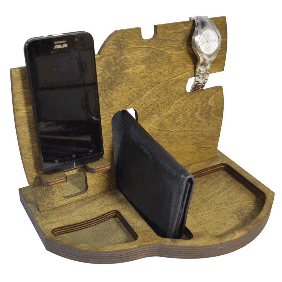 картинка Мужской настольный органайзер, арт. Ф00063 - подарки и декор из дерева - подереву.рф
