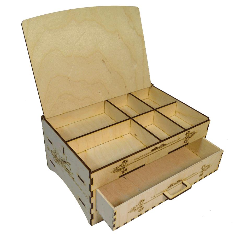 картинка Шкатулка с выдвижным ящиком, арт. Ф00058 - подарки и декор из дерева - подереву.рф