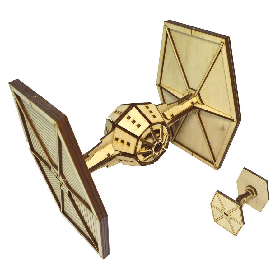 """картинка Корабль """"Звёздные войны"""" TIE Fighter, Ф00087 - подарки и декор из дерева - подереву.рф"""