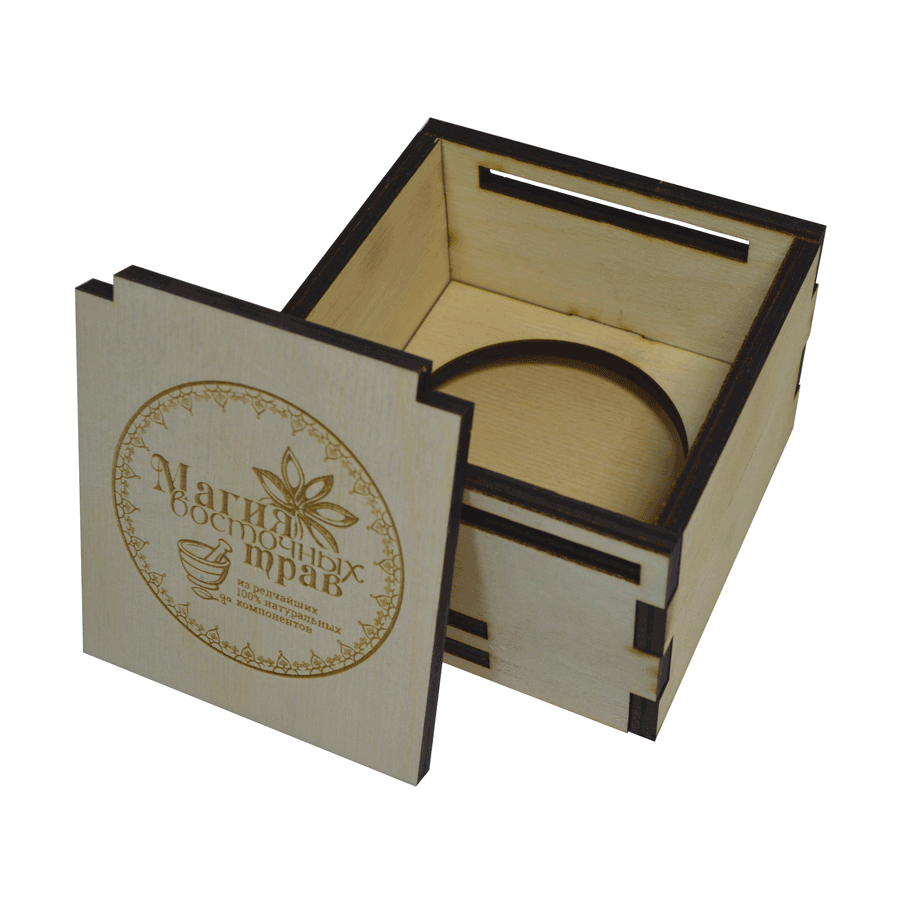 картинка Товарная упаковка с логотипом, 100x100x80 мм, арт. Ф00018 - подарки и декор из дерева - подереву.рф