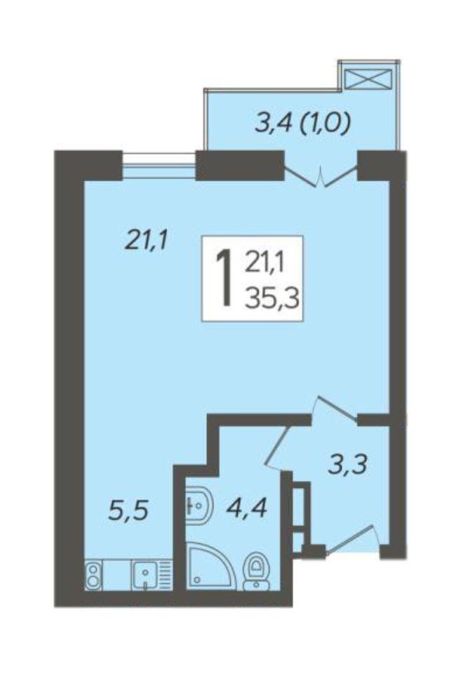 1-к квартира 35.3 м²