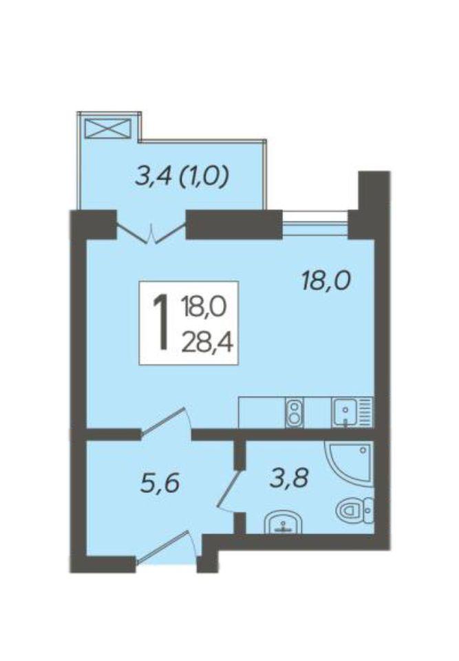 1-к квартира 28.4 м²