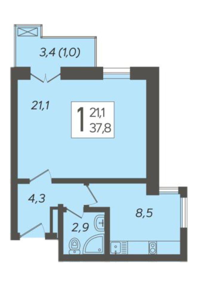 1-к квартира 37.8 м²