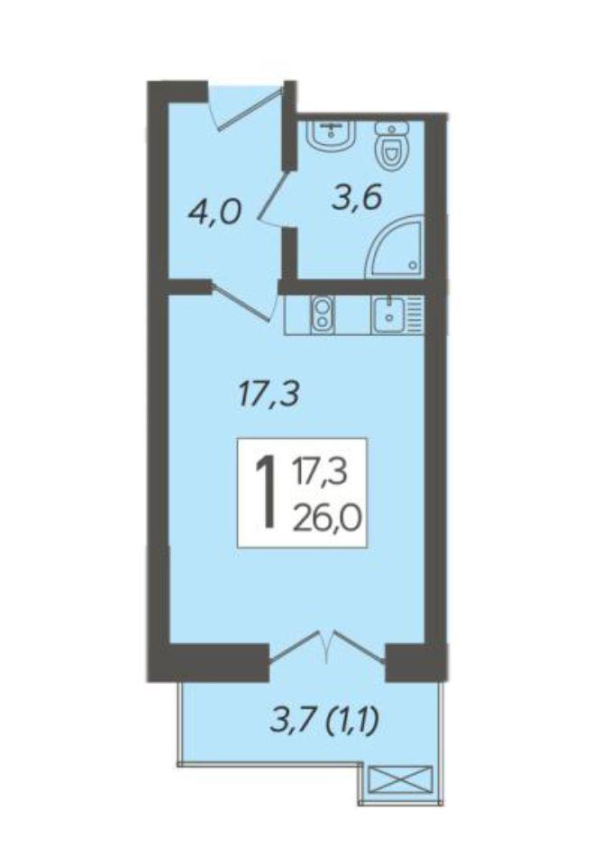 Студия 26.0 м²