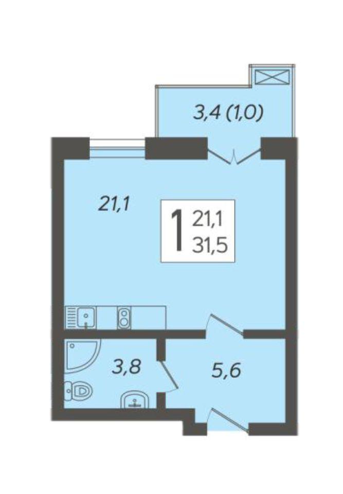 1-к квартира 31.5 м²