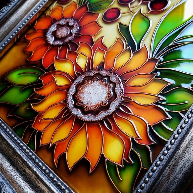 """картинка Витраж """"Цветы"""""""