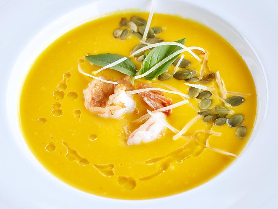 картинка Тыквенный крем-суп с креветками от магазина #GrillFactory