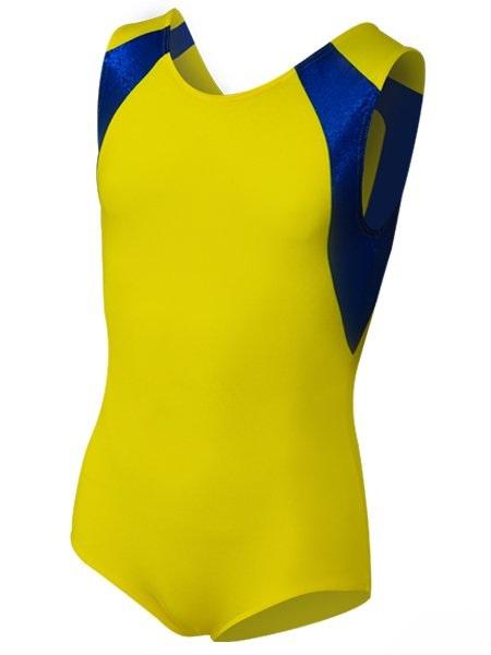 картинка Купальник для спортивной гимнастики со вставками желтый от магазина Одежда+