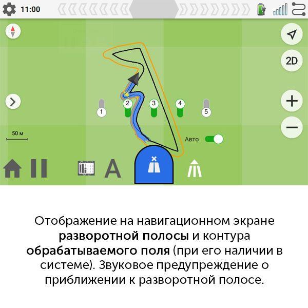 Отображение на навигационном экране разворотной полосы и контура обрабатываемого поля (при его наличии в системе). Звуковое предупреждение о приближении к разворотной полосе. Автоматическое включение/выключение закраски на разворотной полосе.