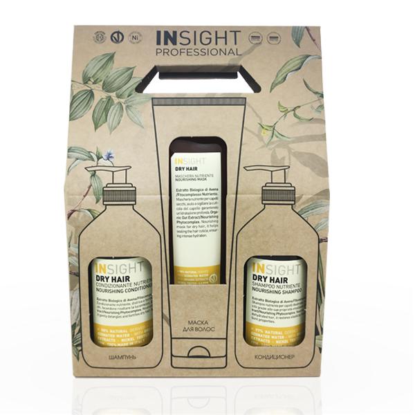 Купить Набор увлажняющий для сухих волос Insight Dry Hair (шампунь и кондиционер 400 мл + маска 250 мл) в интернет-магазине профессиональной косметики Klassika.Top