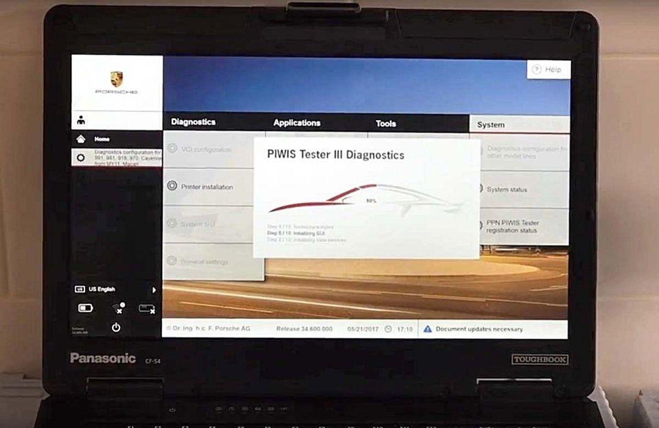 Porsche Piwis 3 Tester load screen