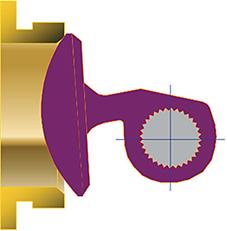 Заглушка смещена таким образом, что задняя кромка торца заглушки сначала соприкоснется с посадочным кольцом при закрытии.