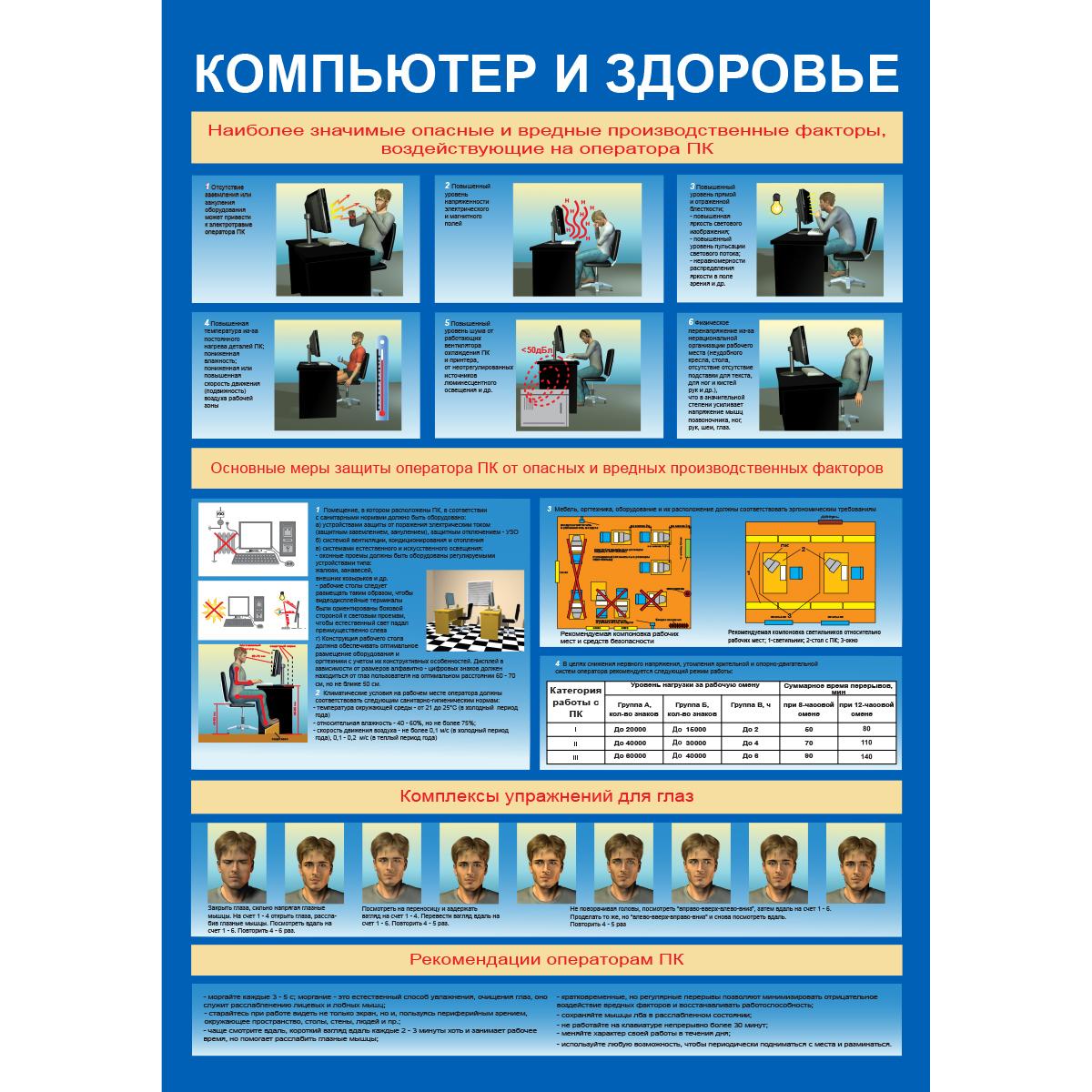 """Плакат """"Компьютер и здоровье"""" (Бумага ламинированная, 1 л.)"""