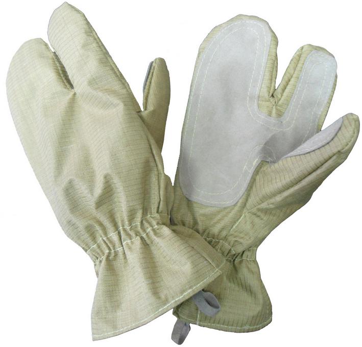Перчатки пожарного трехпалые тканевые