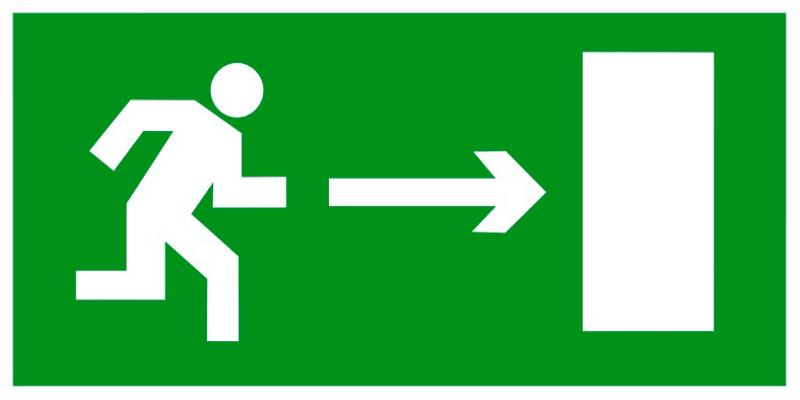 Знак E03 Направление к эвакуационному выходу направо •ГОСТ 12.4.026-2015• (Пластик 150 х 300)