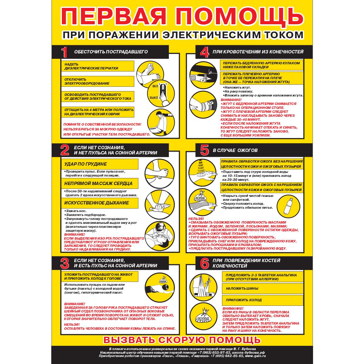 """Плакат """"Первая помощь при поражении электрическим током"""" (Бумага ламинированная, 1 л.)"""