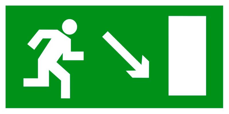 Знак E07 Направление к эвакуационному выходу направо вниз •ГОСТ 12.4.026-2015• (Пластик 150 х 300)