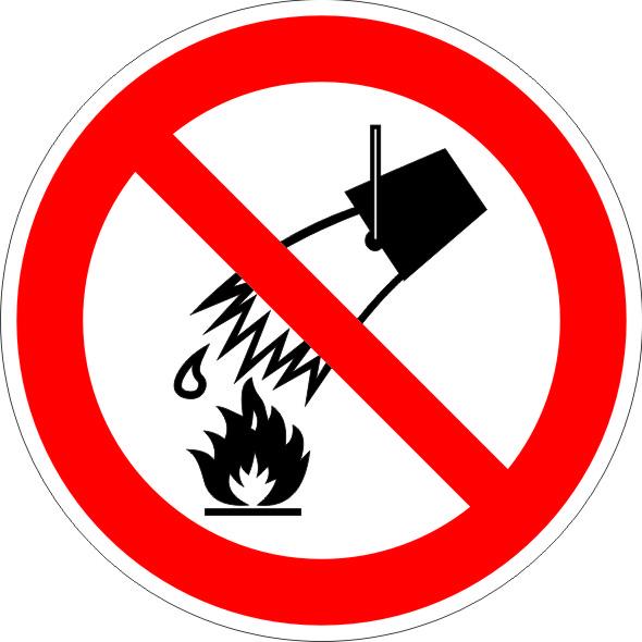 Знак Р04 Запрещается тушить водой 200*200