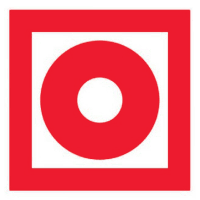 Знак F10 Кнопка включения установок (систем) пожарной автоматики •ГОСТ 12.4.026-2015• (Пленка 100  х 100)