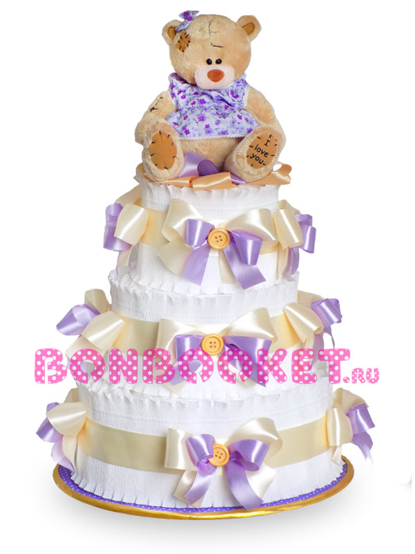 Торт из памперсов Мишка