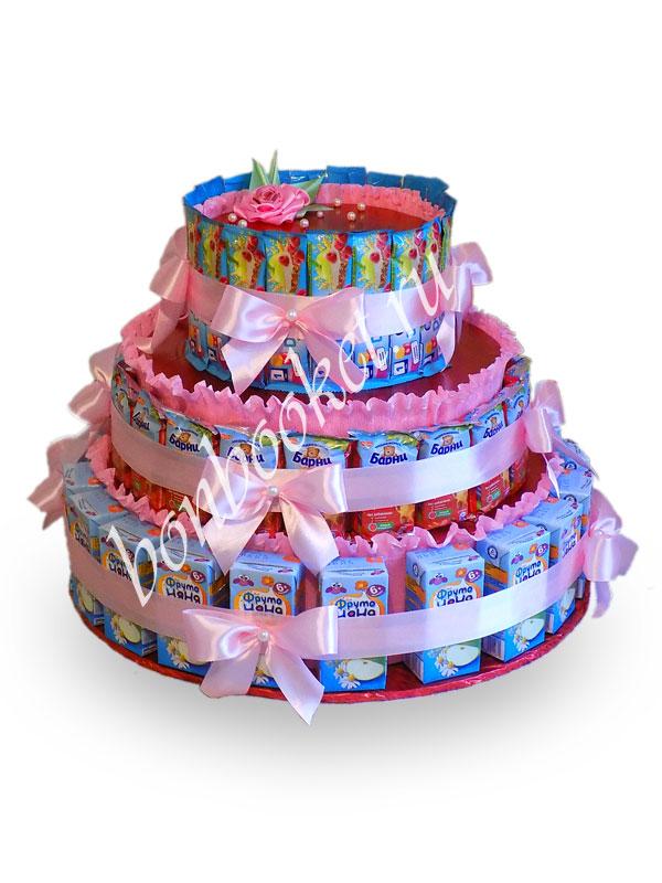 Торт из сока барни и мыльных пузырей Розовый *