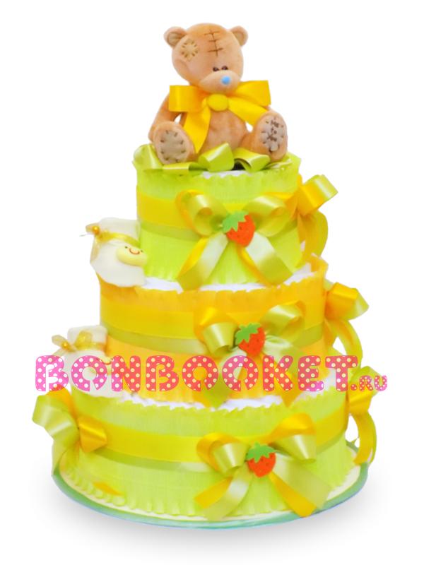 Торт из памперсов Мишка Клубничный