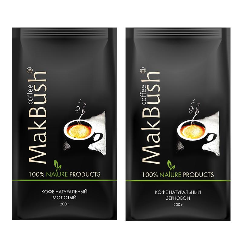 картинка Набор: 2 шт. (зерновой + молотый) кофе MakBush, 200 г от магазина Ex-store