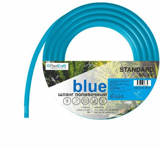 """картинка Шланг поливочный армированный 3 слойный ПВХ 3/4"""", 50 м, """"Standard-Blue"""" // PlastCraft от от PlastCraft"""
