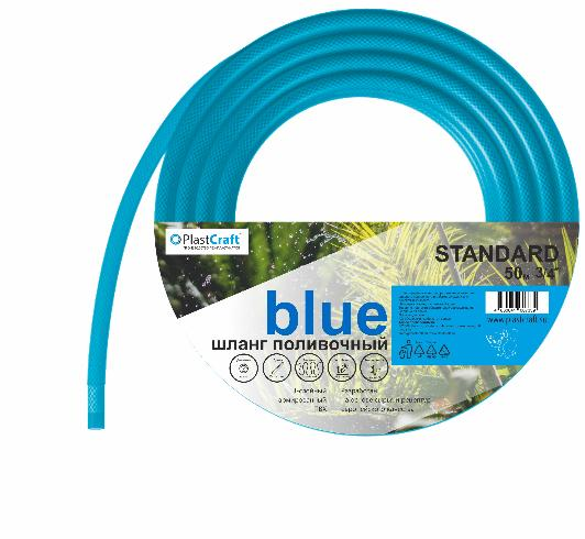 """картинка Шланг поливочный армированный 3 слойный ПВХ 1/2"""", 30 м, """"Standard-Blue"""" // PlastCraft от от PlastCraft"""