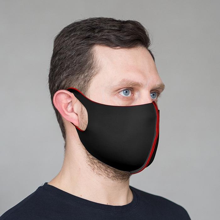 """картинка Взрослая защитная маска """"Черно-красный"""" от магазина Одежда+"""