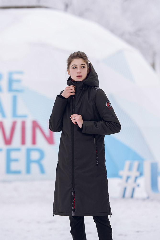 картинка Удлиненное женское пальто черное от магазина Одежда+