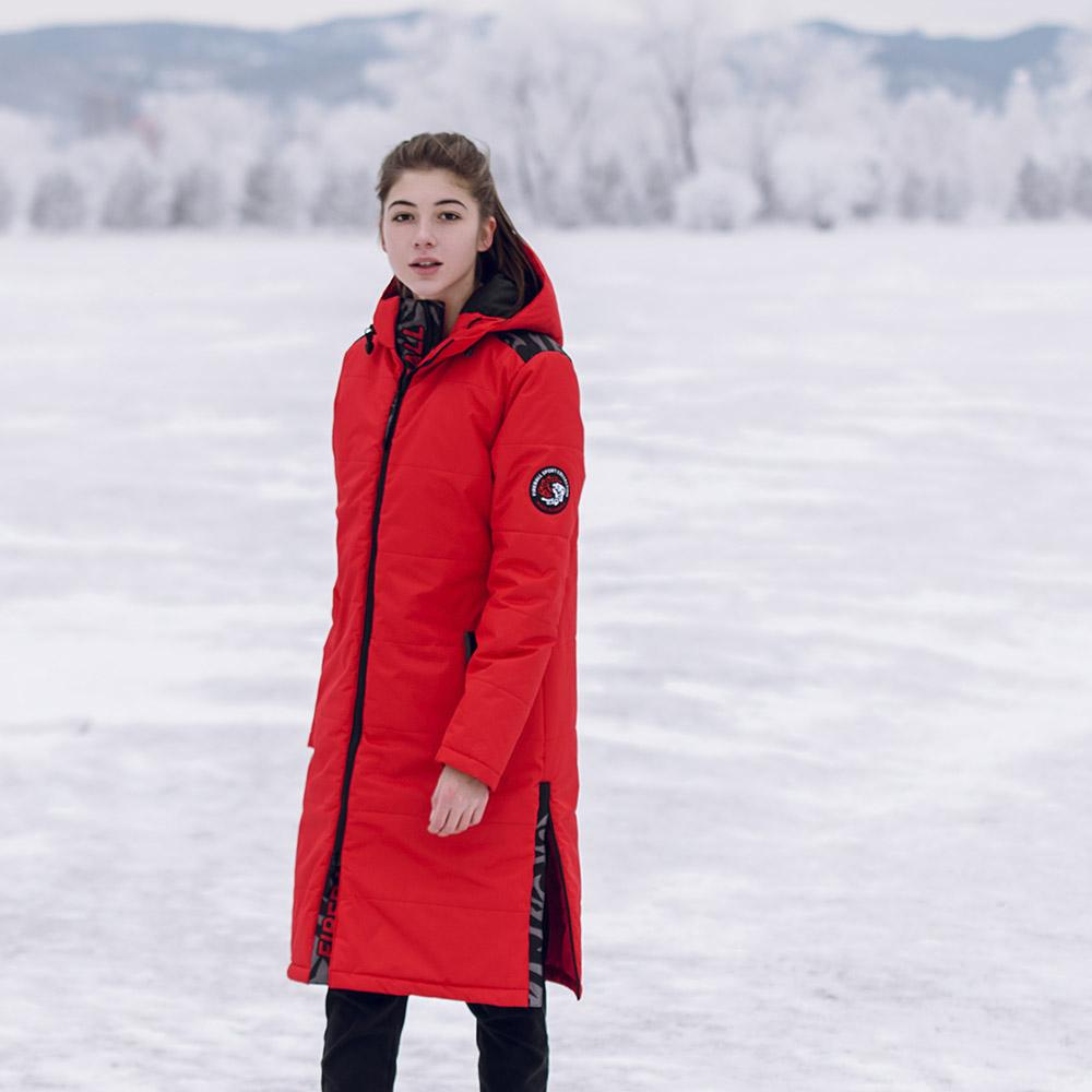 картинка Удлиненное женское пальто красное от магазина Одежда+