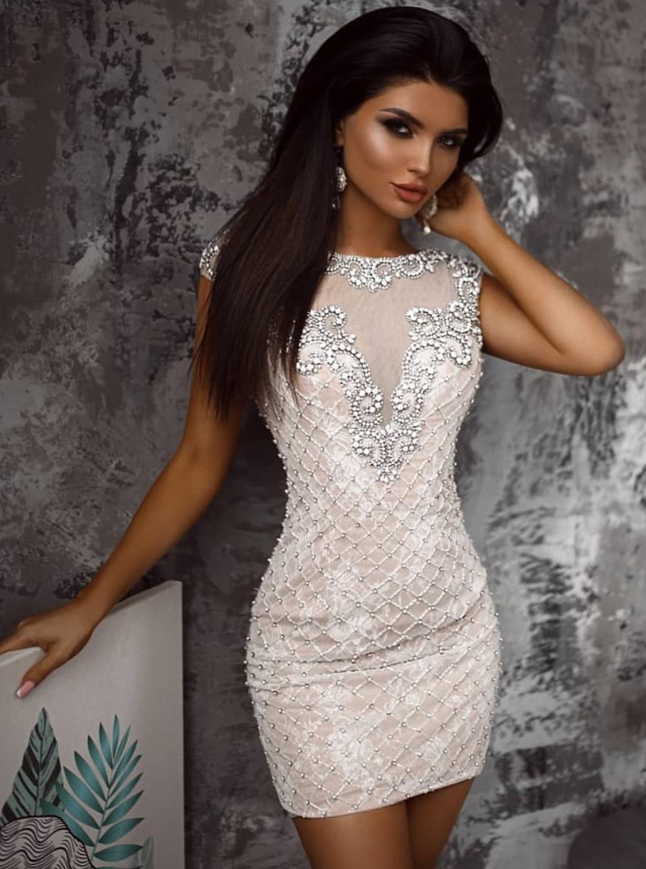 картинка Вечернее короткое платье с бисером и стразами LUX16 интернет бутик Avolet.ru