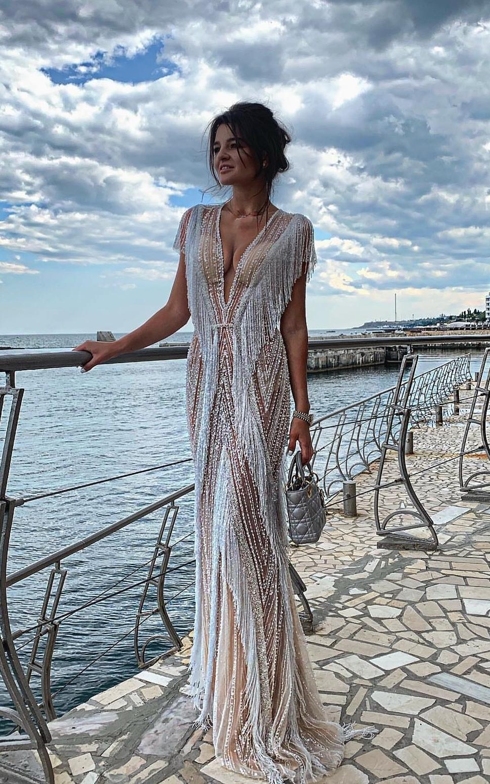 картинка Вечернее платье с бахромой из бисера LUX2 интернет бутик Avolet.ru