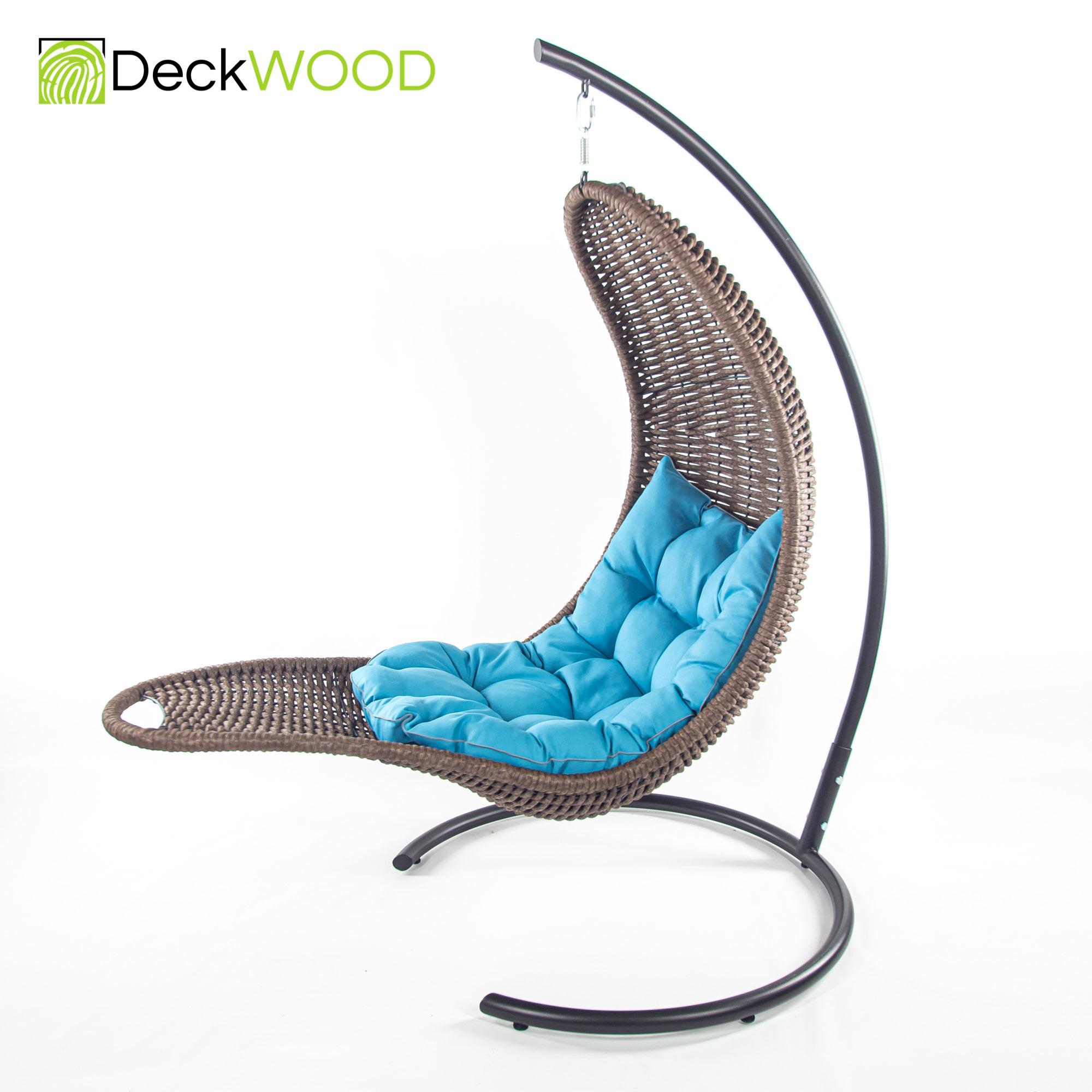 Плетеное подвесное кресло-шезлонг