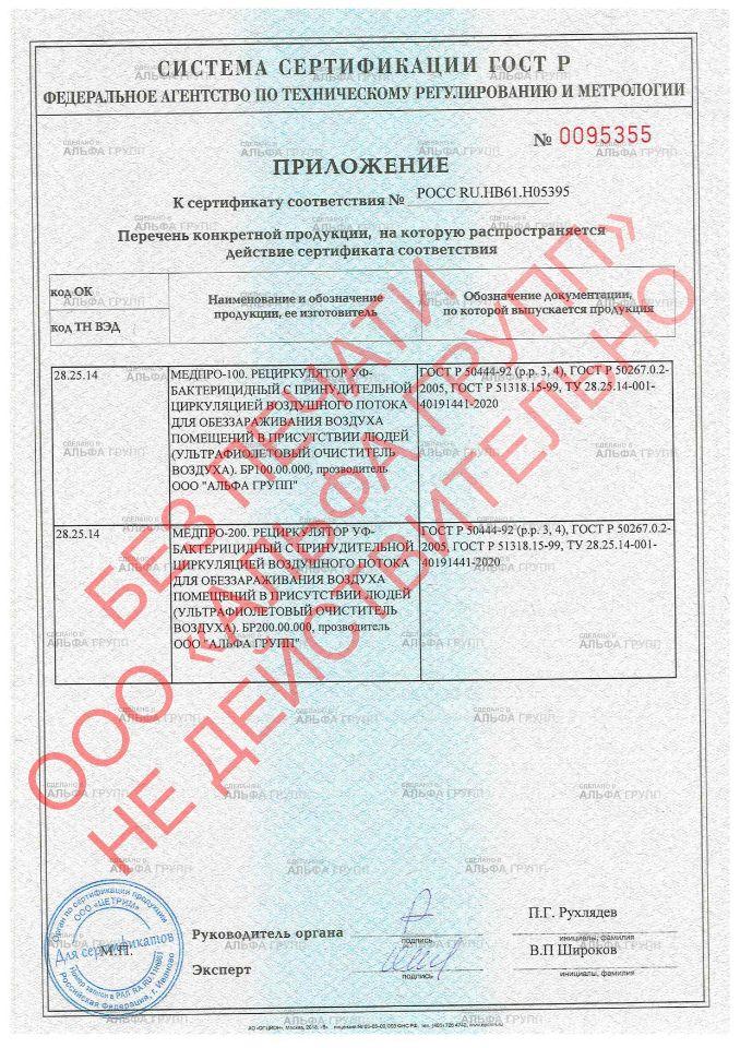 Приложение к сертификату ГОСТ-Р МЕДПРО