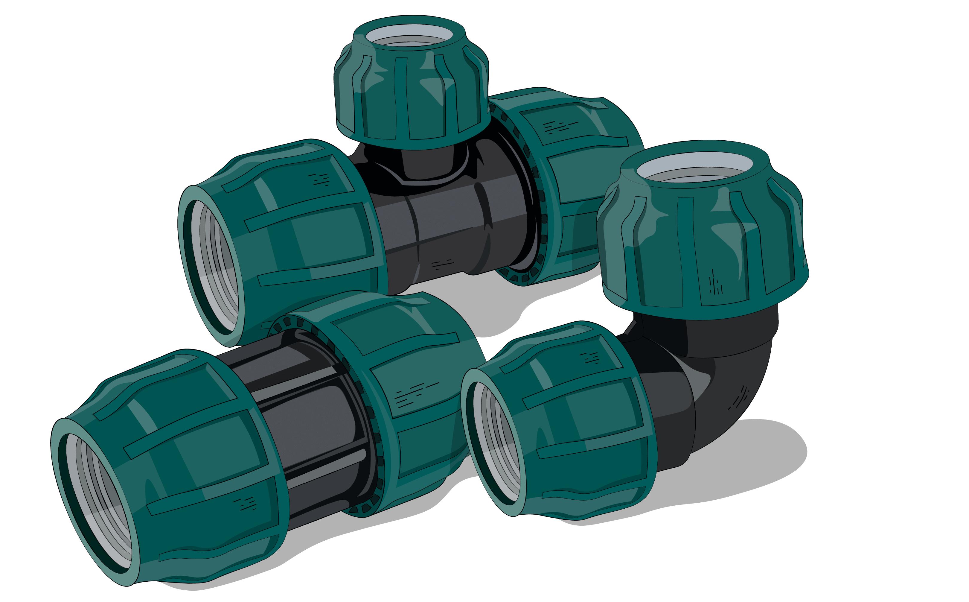 обжимные компрессионный фитинги для ПНД труб