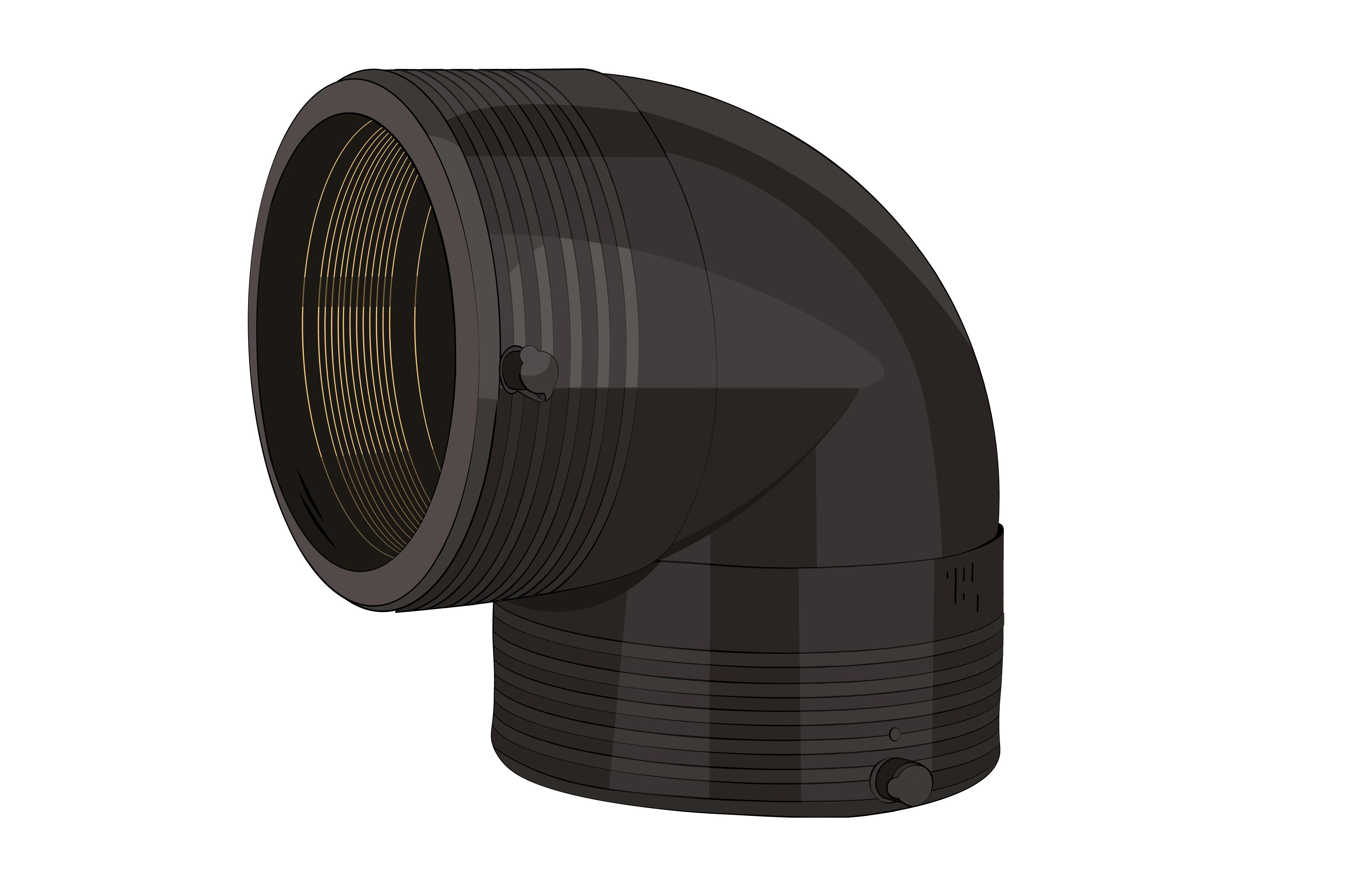электросварной отвод 90 градусов ПНД
