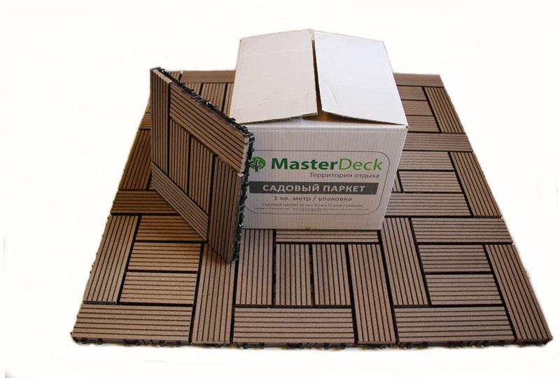 картинка Садовый паркет из древесно-полимерного композита (ДПК) MasterDeck/ Венге / 300/300 мм от магазина ЛамаДек