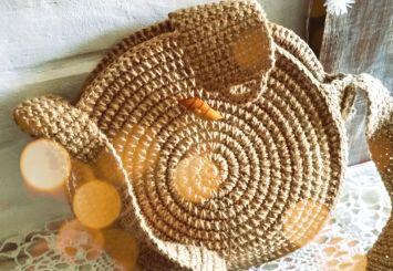 круглая сумочка из джута