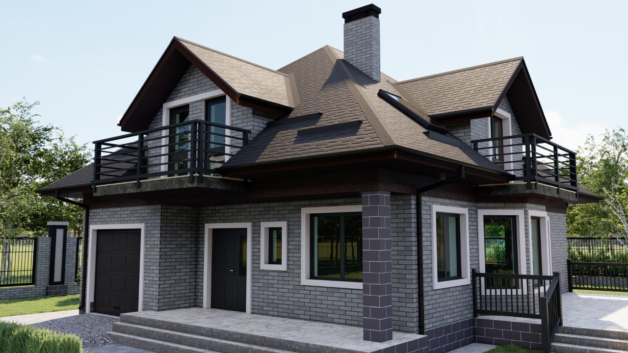 Услуга по визуализации дома с фасадом АМК