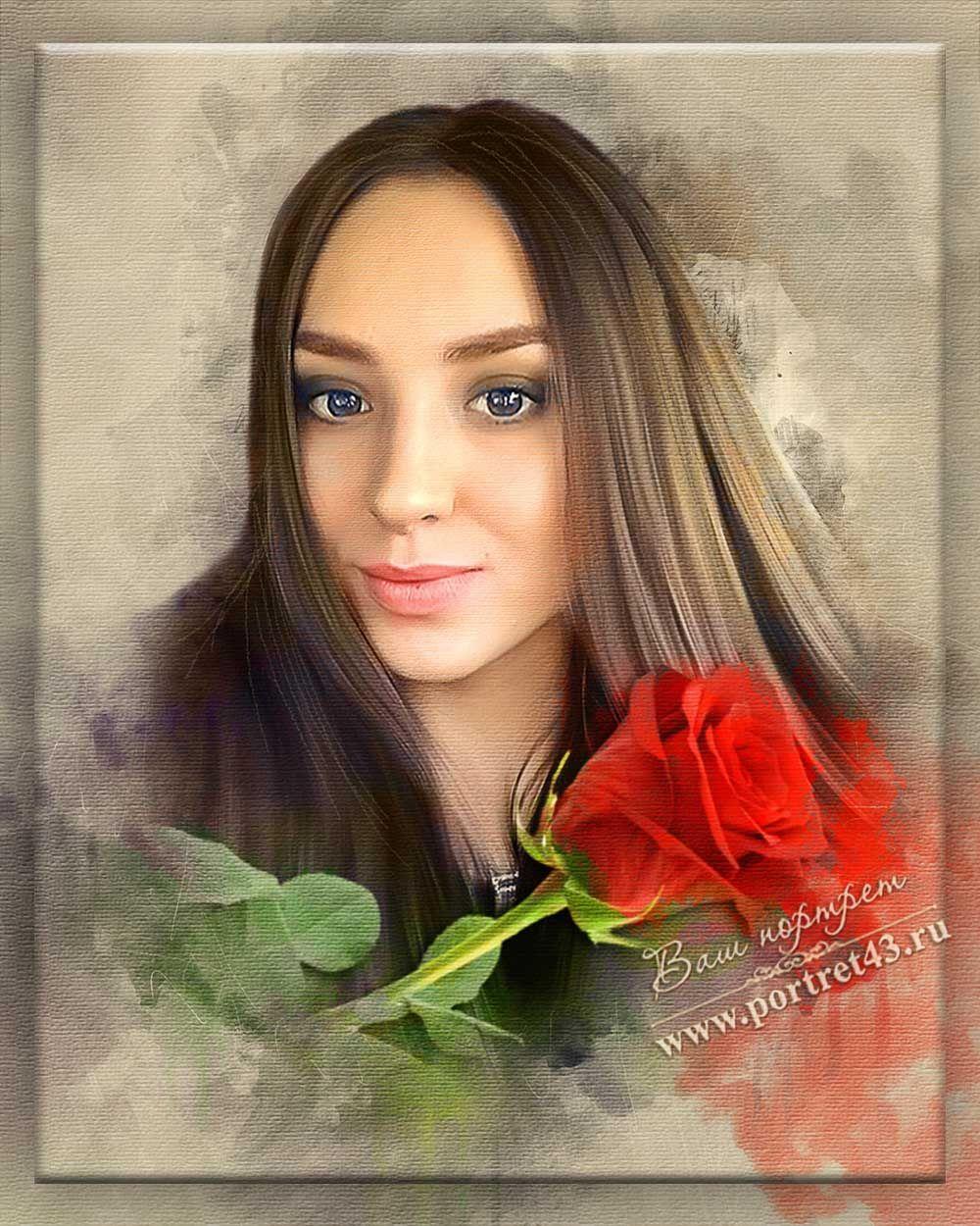 Акварель в цифре. Портрет девушки с розой. Портрет Киров.