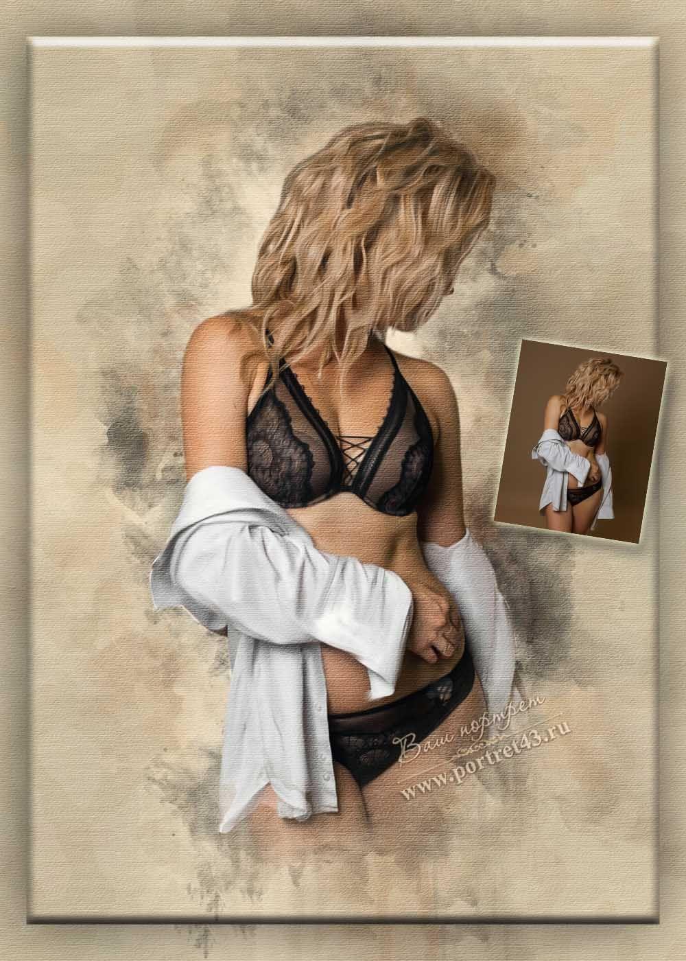 Акварельный портрет девушки.