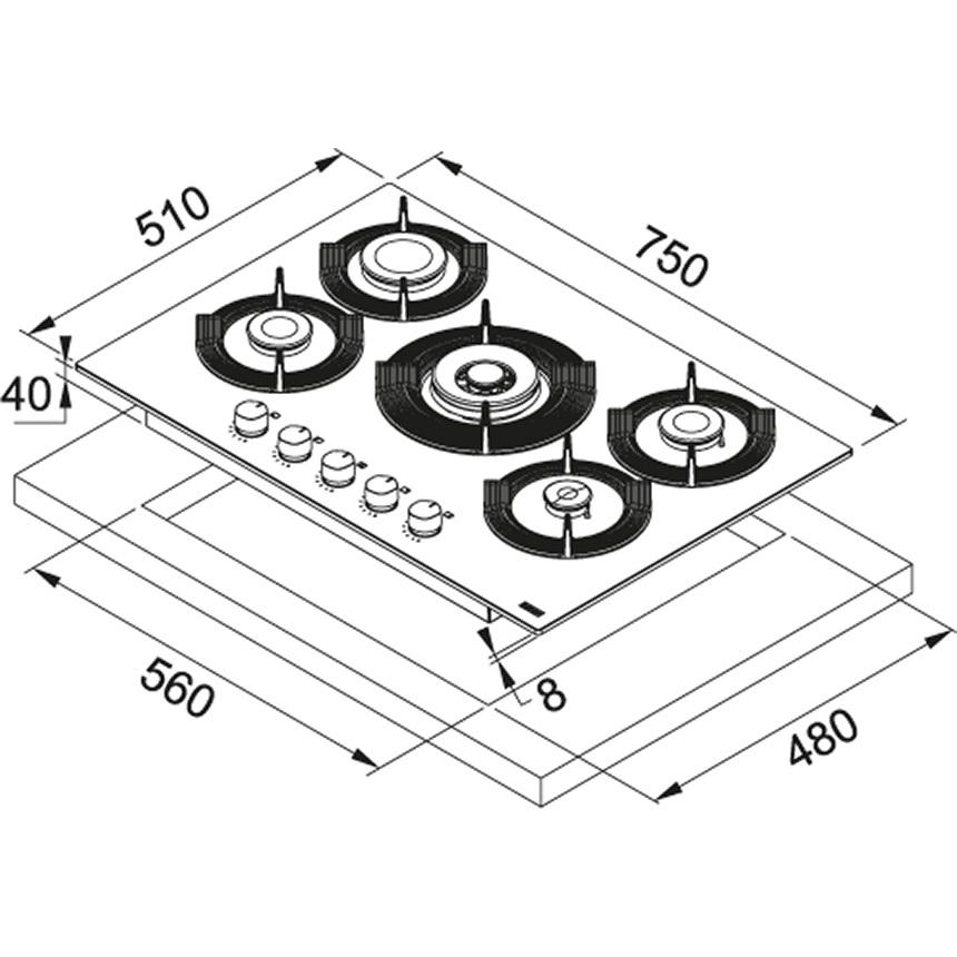 картинка Газовая варочная поверхность FRANKE FHMF 755 4G DC C BK   design Dro